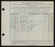 Entry card for Kuhlman, Arbery Wendelburgh for the 1938 May Show.
