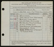 Entry card for West, Brennan B., Jr. for the 1938 May Show.