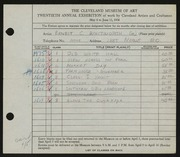 Entry card for Whitworth, Ernest for the 1938 May Show.