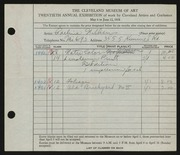 Entry card for David, Adeline Wilkens for the 1938 May Show.