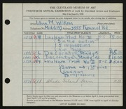Entry card for Wilkens, Lillian M. for the 1938 May Show.