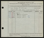 Entry card for Williams, Henry W. for the 1938 May Show.