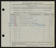 Entry card for Wilson, David Philip for the 1938 May Show.