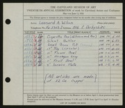 Entry card for Wilson, Leonard A. for the 1938 May Show.