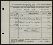 Entry card for Wolfs, Wilma Diena for the 1938 May Show.