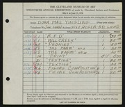 Entry card for Yingling, Dora Mae for the 1938 May Show.