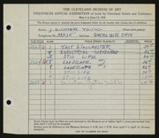 Entry card for Young, Jay Quinter for the 1938 May Show.