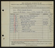 Entry card for Adams, John Squire for the 1939 May Show.