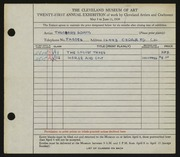 Entry card for Adams, Theodore for the 1939 May Show.