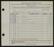 Entry card for Adomeit, George G., and Caxton Company for the 1939 May Show.