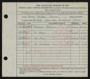 Entry card for Aitken, Irene Anabel for the 1939 May Show.
