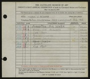 Entry card for Albers, Milton W. for the 1939 May Show.