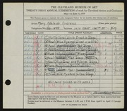 Entry card for Andrews, Mary Adelaide Fulton for the 1939 May Show.