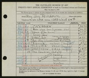 Entry card for Ashdown, Ray Jay for the 1939 May Show.