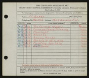 Entry card for Baker, F. C. for the 1939 May Show.