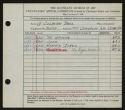 Entry card for Ball, George Colburn for the 1939 May Show.