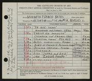 Entry card for Bates, Kenneth F. for the 1939 May Show.