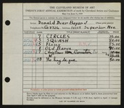 Entry card for Bayard, Donald Duer for the 1939 May Show.