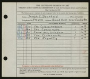 Entry card for Bechtold, Joseph C. for the 1939 May Show.