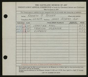 Entry card for Becker, Kenneth G. for the 1939 May Show.