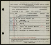 Entry card for Bennett, George Edward for the 1939 May Show.