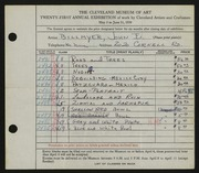 Entry card for Billmyer, John E. for the 1939 May Show.