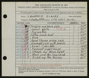 Entry card for Blazey, Lawrence for the 1939 May Show.