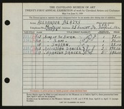 Entry card for Blazys, Alexander for the 1939 May Show.