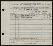 Entry card for Bodnarczuk, Steve for the 1939 May Show.