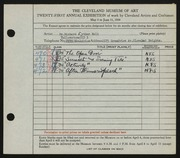 Entry card for Bolt, Dr. Richard Arthur for the 1939 May Show.