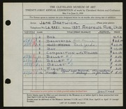 Entry card for Bostwick, Jane for the 1939 May Show.