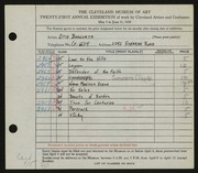 Entry card for Bosworth, Otis B. for the 1939 May Show.