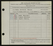 Entry card for Brooks, Mary Semour for the 1939 May Show.