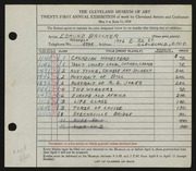 Entry card for Brucker, Edmund for the 1939 May Show.