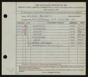 Entry card for Brunetti, George for the 1939 May Show.