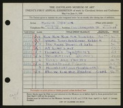 Entry card for Bryson, Marion Camp for the 1939 May Show.