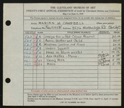 Entry card for Campbell, Marion Macdonald  for the 1939 May Show.