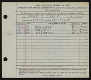 Entry card for Carlo, Fred C.  for the 1939 May Show.