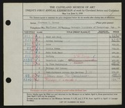 Entry card for Carter, Clarence Holbrook for the 1939 May Show.