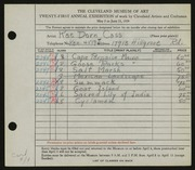 Entry card for Cass, Katherine Dorn for the 1939 May Show.