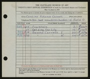 Entry card for Cass, Caroline Pickands for the 1939 May Show.