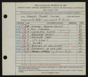 Entry card for Clough, Stanley T. for the 1939 May Show.