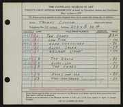 Entry card for Clough, Thomas for the 1939 May Show.