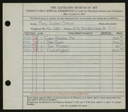 Entry card for Collins, Mary Susan for the 1939 May Show.