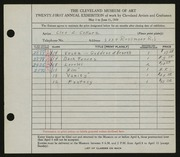 Entry card for Collura, Cleo Z. for the 1939 May Show.