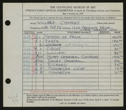 Entry card for Combes, Willard Wetmore for the 1939 May Show.