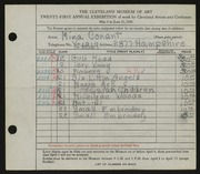 Entry card for Conant, Mina for the 1939 May Show.