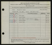 Entry card for Conrad, William H. for the 1939 May Show.