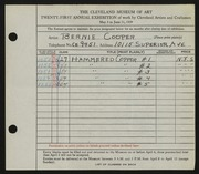Entry card for Cooper, Dr. Bernard Henry for the 1939 May Show.