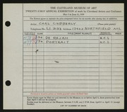 Entry card for Cubberly, Carl for the 1939 May Show.